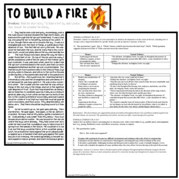 To Build a Fire by Jack London: Common Core ELA Test Prep Quiz & Activities