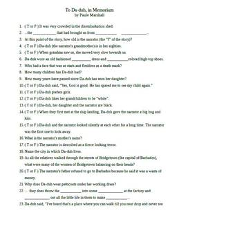 To Da-duh in Memoriam by Paule Marshall Guided Reading Worksheet and Puzzles