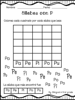 Graficando silabas - Syllable Graph in Spanish FREEBIE