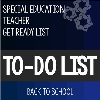 To Do List Back to School Checklist- Special Education Teacher