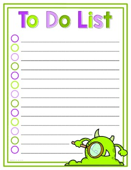 To Do List - Monster - FREEBIE