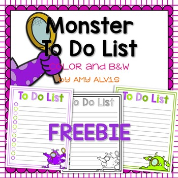 To Do List Monster FREEBIE