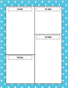 To Do List by WeeRainbows - Teal w/ Polka Dots