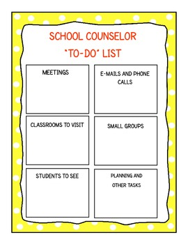 To-Do List for School Counselors (Yellow)