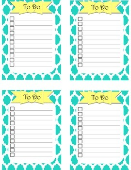 To Do Lists - 4 per page