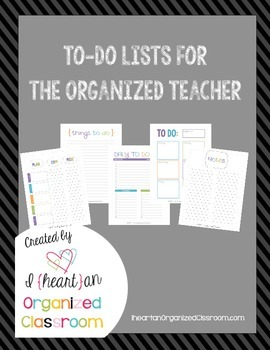 To Do Lists For The Organized Teacher ~ Black & White