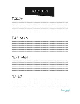 To Do Lists- Weekly