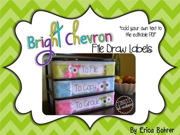 To File, To Grade, To Copy Desk Organizer - Bright Tonal Chevron