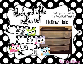 To File, To Grade, To Copy, To Do Desk Organizer - Black & White Polka Dot