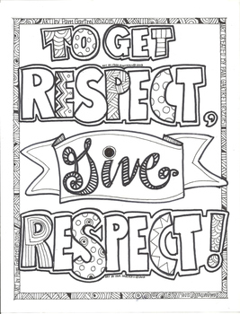 To Get Respect Give Respect Character Building Coloring Sheet