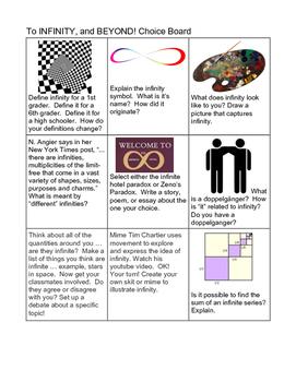 Infinity Math Enrichment Choice Board
