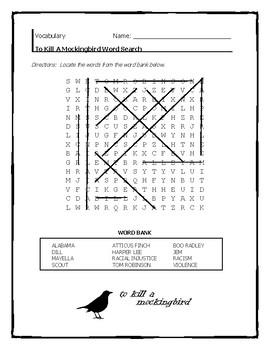 To Kill A Mockingbird Word Search