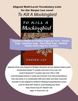 To Kill A Mockingbird Vocabulary Lists, Multi Level, Aligned