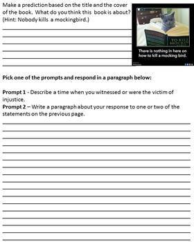 To Kill A Mockingbird - Anticipation Guide