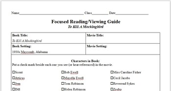 To Kill A Mockingbird Novel/Film Focused Viewing Worksheet