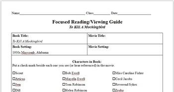 To Kill A Mockingbird Novel/Film Focused Viewing Worksheet