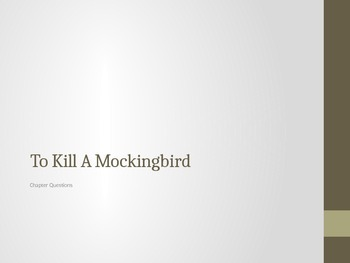 To Kill A Mockingbird- Chapter Questions and Literacy Activities
