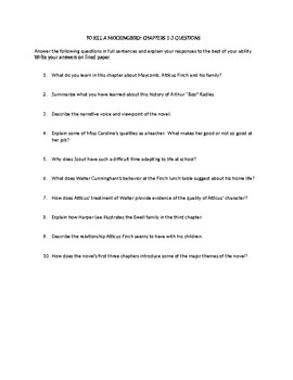 To Kill A Mockingbird - Chapter Review Questions