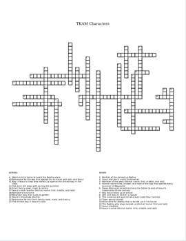 To Kill A Mockingbird Character Cross Word