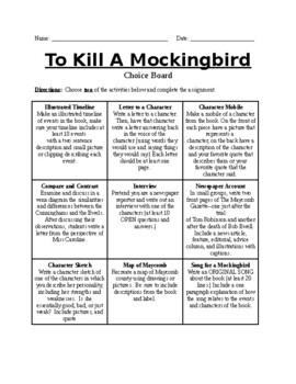 To Kill A Mockingbird Choiceboard Activities
