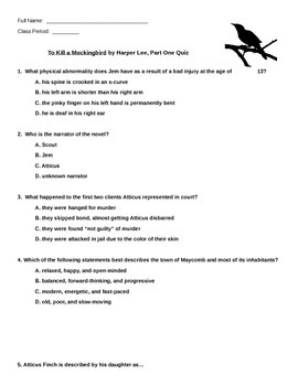 To Kill A Mockingbird Close Reading Test, Part One (of two)