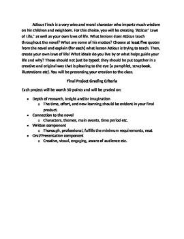 To Kill A Mockingbird Cumulative Projects