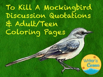 To Kill A Mockingbird Enrichment Activities Adult Teen Coloring Pages Quotes