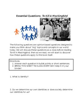 To Kill A Mockingbird Essential Questions Packet