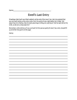To Kill A Mockingbird- Ewell's Last Diary Entry