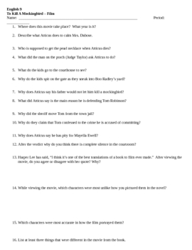 To Kill A Mockingbird Film questions