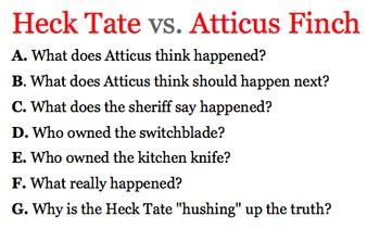 To Kill A Mockingbird - Heck Tate vs. Atticus Finch Porch Battle Reading Guide