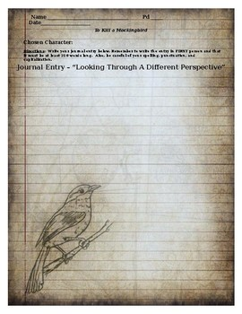 """To Kill A Mockingbird - """"Looking Through a Different Perspective"""" Journal Entry"""