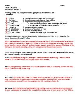 To Kill A Mockingbird Part I Test