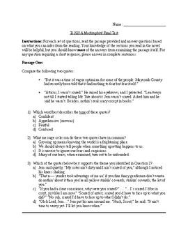 To Kill A Mockingbird- Passage Interpretation Final Test