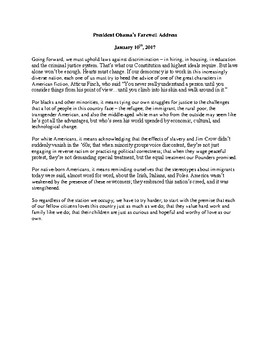 To Kill A Mockingbird/ President' Obama's Farewell Address Short Answer