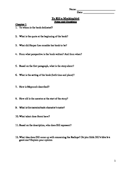 To Kill A Mockingbird Questions by Chapter