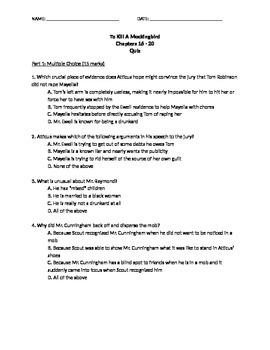 To Kill A Mockingbird Quiz Ch 16 - 20