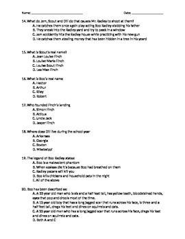 To Kill A Mockingbird Quiz Chapters 1-5