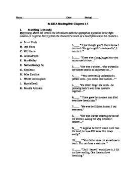 To Kill A Mockingbird Quiz, Chapters 1-5