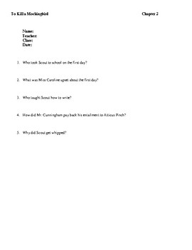 To Kill A Mockingbird Quiz Chapters 2 and 3
