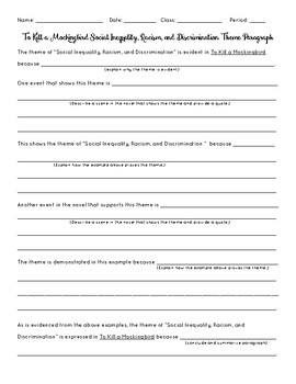 To Kill A Mockingbird Racism Theme Paragraph Outline Worksheet