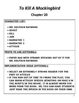 To Kill A Mockingbird Chapter 20 Reader's Theater