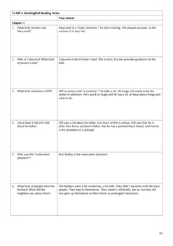 To Kill A Mockingbird Reading Schedule and Questions