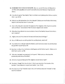 To Kill A Mockingbird Story Questions