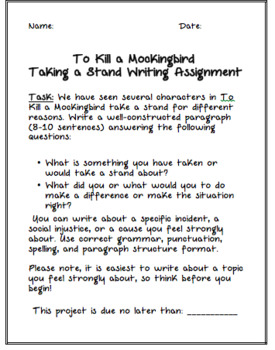 To Kill A Mockingbird - Taking A Stand Writing Activity