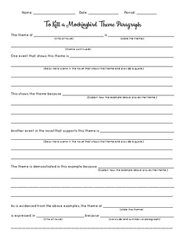 To Kill A Mockingbird Theme Paragraph Outline Worksheet