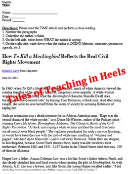 To Kill A Mockingbird Unit-Common Core Aligned