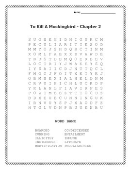To Kill A Mockingbird Word Searches - Chapter 1, 2, and 3