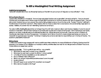 To Kill A Mockingbird Writing Assignment