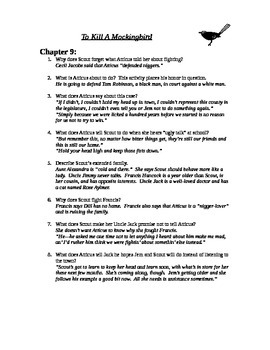 To Kill A Mockingbird chapter 9 study guide